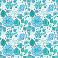 Colorful floral seamless pattern with leaves and doodles ornament theme for your design Stock Photo