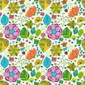 Colorful floral seamless pattern with leaves and doodles ornament theme for your design Stock Photos