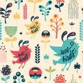Colorful floral seamless pattern with love birds. Royalty Free Stock Photo