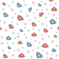 Colorful floral seamless pattern on white background Royalty Free Stock Photography