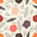 Colorful floral seamless vector pattern with hand drawn pastel colors