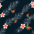 Colorful floral tropic desin seamless pattern. Wild flowers and leaves background.Textile design, wallpaper, fabric print.