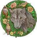 Colorful floristic image . wolf and birds Royalty Free Stock Photo