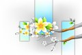 Colorful flower blooming on branch of tree illustration Royalty Free Stock Photos