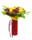 Colorful flower bouquet arrangement centerpiece in red vase isol isolated on white background closeup Stock Images