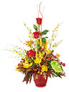 Colorful flower bouquet arrangement centerpiece in vase isolated on white background closeup Stock Photography
