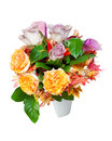 Colorful flower bouquet arrangement centerpiece vase white background Royalty Free Stock Photography
