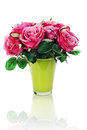 Colorful flower bouquet artificial roses arrangement centerpiece vase isolated white background Royalty Free Stock Photos