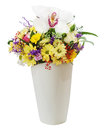 Colorful flower bouquet in vase isolated on white background closeup Stock Photography