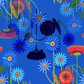 Colorful flowers of color pencil. Mystical floral seamless pattern on a blue background. Royalty Free Stock Photo