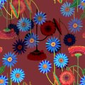 Colorful flowers of color pencil. Mystical floral seamless pattern on a burgundy background. Royalty Free Stock Photo