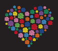 Colorful flower in heart vector Royalty Free Stock Photo