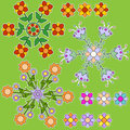 Colorful flower ornament collection Royalty Free Stock Photo