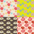 Colorful flower pattern set original seamless vertor file Royalty Free Stock Photo