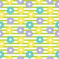 Colorful flower seamless pattern on striped background for baby clothes background Royalty Free Stock Photo