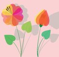 Colorful flower with shadow background illustration Stock Photography