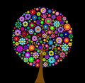 Colorful flower tree on black background Royalty Free Stock Photo