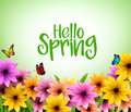 Colorful Flowers Background in 3D Realistic Vector for Spring Season Royalty Free Stock Photo