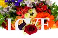 Colorful flowers bouquet isolated on white backgroundr Stock Photo