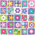 Colorful flowers collection pattern cute hearts and dots illustration set on rectangular and white background Royalty Free Stock Image