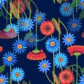 Colorful flowers of color pencil. Mystical floral seamless pattern on a dark blue background. Royalty Free Stock Photo