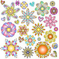 Colorful flowers and hearts collection Royalty Free Stock Image