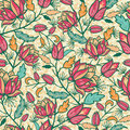 Colorful flowers and leaves seamless pattern vector elegant background Stock Images