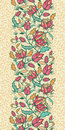 Colorful flowers and leaves vertical seamless vector elegant pattern background ornament Stock Photos