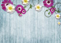 Colorful flowers over blue wooden background with copy space