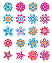 Colorful flowers set of on white background Royalty Free Stock Images