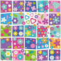 Colorful flowery pattern lovely flowers and hearts set on rectangular background Stock Photo