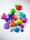 Colorful Flying Cubes Background Stock Photography