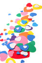 Colorful foam confetti hearts Royalty Free Stock Photos