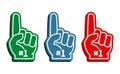 Colorful foam fingers vector set