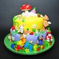 Colorful Fondant Cake With Ani...
