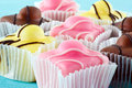 Colorful fondant cakes Royalty Free Stock Photo
