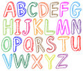 Colorful font styles of the alphabet illustration on a white background Royalty Free Stock Images