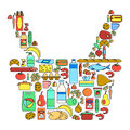 Colorful food, drinks and household cleaning products linear icons set. Supermarket goods Royalty Free Stock Photo