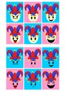 Colorful Fools Day Emoticons Set