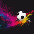 The colorful footballs on a black background. Stock Photography