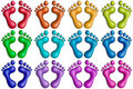 Colorful footprints-1 Stock Image