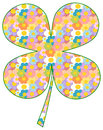 Colorful four leaf clover patterned with cartoon daisy flowers illustration