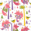 Colorful foxes, birds and trees pattern Royalty Free Stock Images