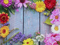 Colorful frame of fresh summer flowers Royalty Free Stock Photo