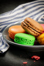 Colorful French macaroons Stock Photography