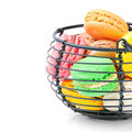 Colorful french macaroons isolated over white Stock Image
