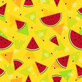 Colorful fresh watermelon fruits seamless pattern background vec Royalty Free Stock Photo