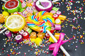 Colorful fruit candies and lollipops Royalty Free Stock Photo