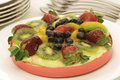 Colorful fruit custard tart Stock Photography