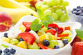 Colorful fruit salad bowl of healthy Royalty Free Stock Photography